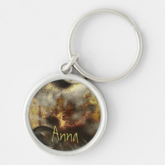 Gold and Silver Star Dust Effect Silver-Colored Round Key Ring