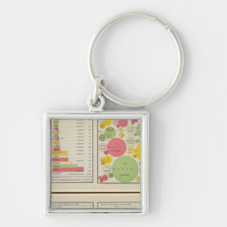 Gold and Silver Statistical Charts Key Ring