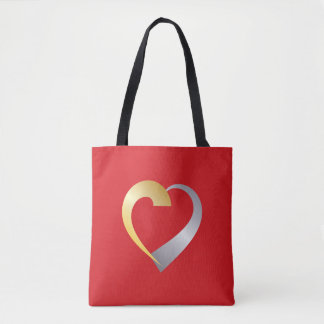 Gold and silver Valentine Heart Tote Bag