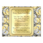 Gold and Silver Yin and Yang 11 Cm X 14 Cm Invitation Card