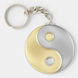 Gold and Silver Yin and Yang Basic Round Button Key Ring