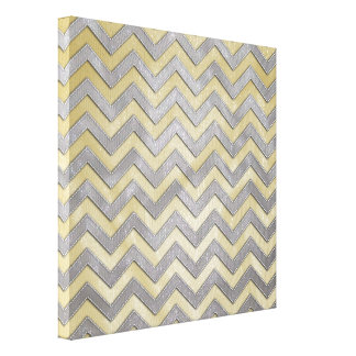 Gold and Silver Zig Zags Stretched Canvas Prints
