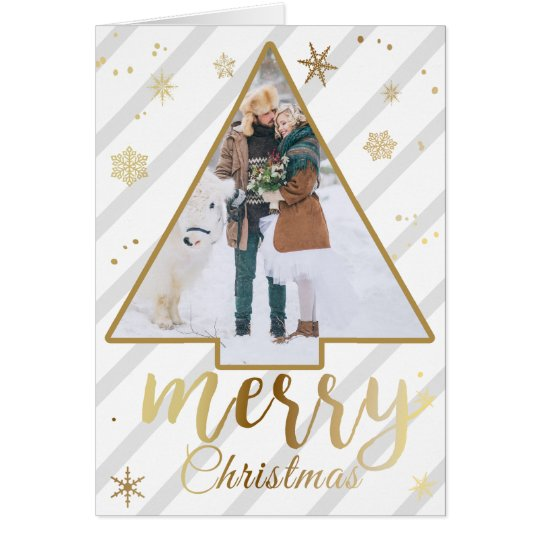 Gold and Stripe Photo Christmas Card