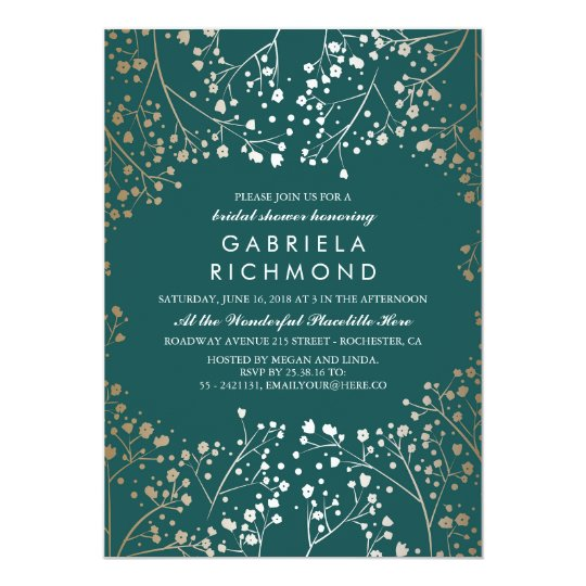 Gold and Teal Baby's Breath Bridal Shower Card