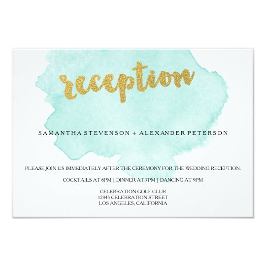 Gold and Teal Blush Watercolor Wedding Reception Card