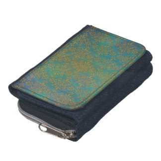 Gold and Teal Funky Hip Damask Denim Wallet