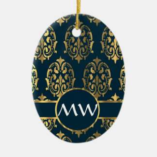 Gold and teal green damask christmas ornament