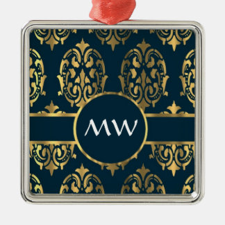 Gold and teal green damask pattern christmas ornament