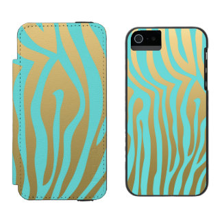 Gold and Tiffany Blue Zebra Stripes Pattern Incipio Watson™ iPhone 5 Wallet Case