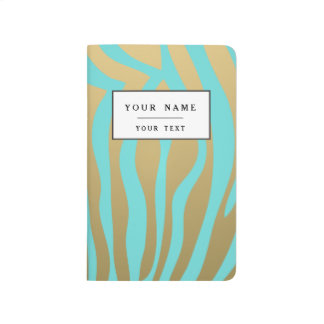 Gold and Tiffany Blue Zebra Stripes Pattern Journal