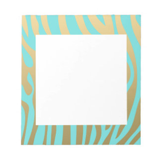 Gold and Tiffany Blue Zebra Stripes Pattern Notepad