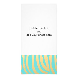 Gold and Tiffany Blue Zebra Stripes Pattern Personalized Photo Card