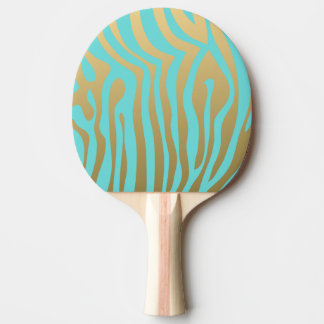 Gold and Tiffany Blue Zebra Stripes Pattern Ping Pong Paddle