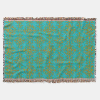Gold and Turquoise Damask Style Pattern