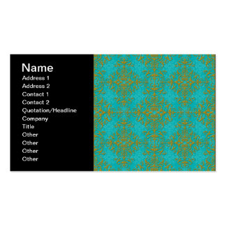 Gold and Turquoise Damask Style Pattern Pack Of Standard Business Cards