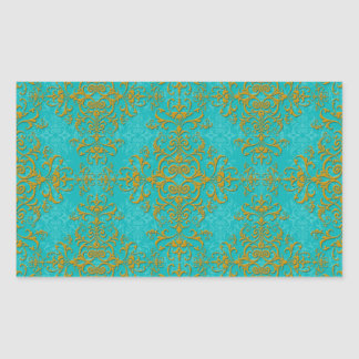 Gold and Turquoise Damask Style Pattern Rectangular Sticker