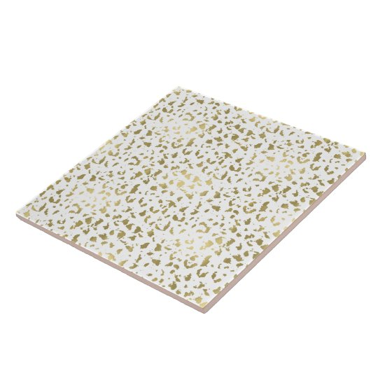 Gold and White Animal Print Tile