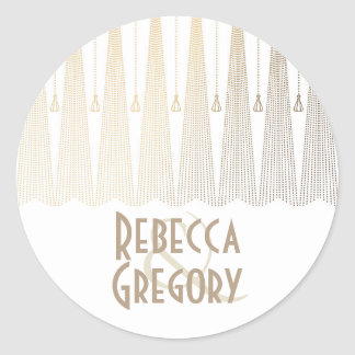 Gold and White Art Deco Chic Vintage Wedding Round Sticker