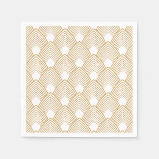 Gold and White Art Deco Pattern Disposable Serviette