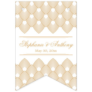 Gold and White Art Deco Pattern Wedding Bunting