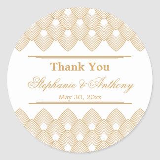 Gold and White Art Deco Pattern Wedding Classic Round Sticker