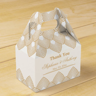 Gold and White Art Deco Pattern Wedding Favour Box
