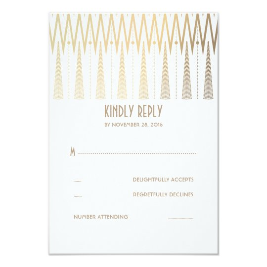Gold and White Art Deco Wedding RSVP Cards