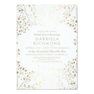 Gold and White Baby's Breath Bridal Shower Card