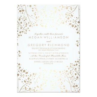 Gold and White Baby's Breath Floral Wedding