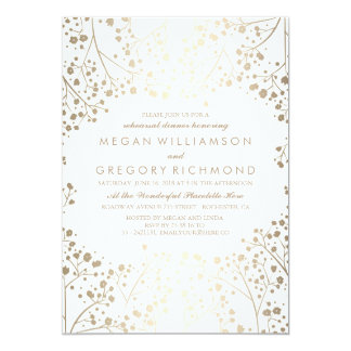 Gold and White Baby's Breath Rehearsal Dinner Card