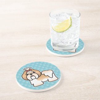 Gold And White Cartoon Shih Tzu Coaster