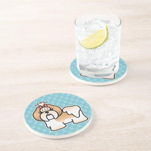 Gold And White Cartoon Shih Tzu Drink Coasters