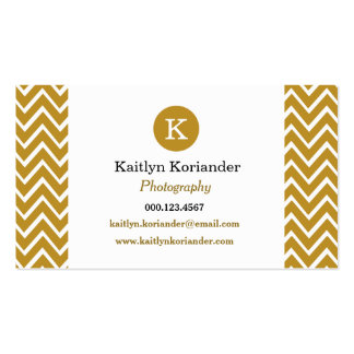 Gold and White Chevron Custom Monogram Girly Double-Sided Standard Business Cards (Pack Of 100)
