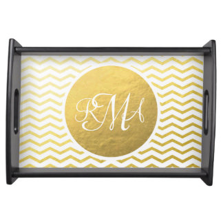 Gold and White Chevron Monogrammed Personalized Serving Tray