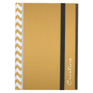 GOLD AND WHITE CHEVRON PERSONALIZED BY NAME CASE FOR iPad AIR