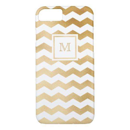Gold and White chevron Phone case