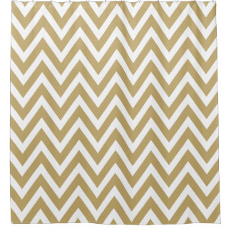 Gold and White Chevron Shower Curtain