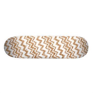 Gold and White Chevron Stripe Skateboard