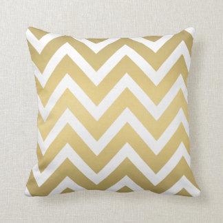Gold and White Chevron Striped Pillow Throw Cushion