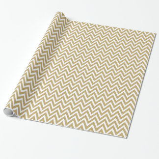 Gold and White Chevron Wrapping Paper