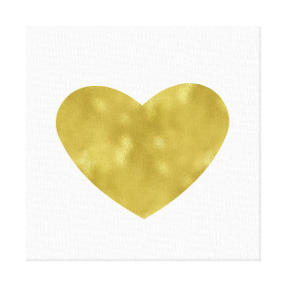 Gold and White Chic Heart Canvas Print