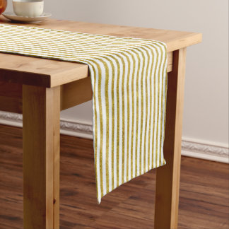 Gold and White Chic Stripes Long Table Runner