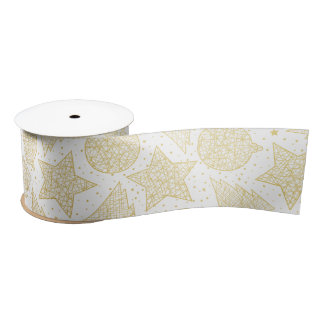 Gold and White Christmas Pattern Ribbon Satin Ribbon