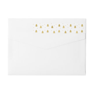 Gold and White Christmas Pines Wraparound Return Address Label