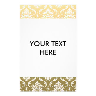 Gold and White Classic Damask 14 Cm X 21.5 Cm Flyer