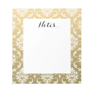 Gold and White Classic Damask Notepad