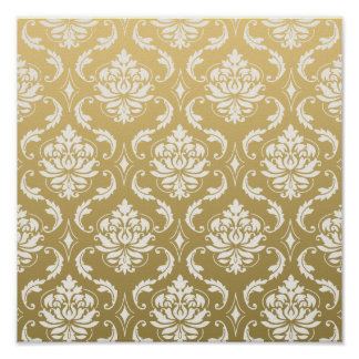 Gold and White Classic Damask Poster