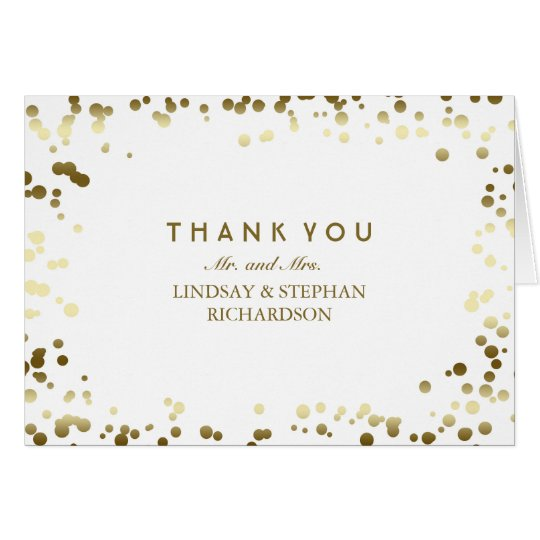 Gold and White Confetti Elegant Wedding Thank You