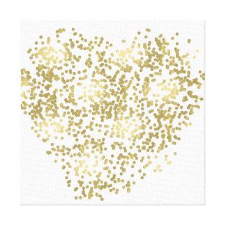 Gold and White Confetti Heart Canvas Print