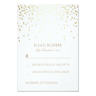 Gold and White Confetti Wedding RSVP Cards 9 Cm X 13 Cm Invitation Card
